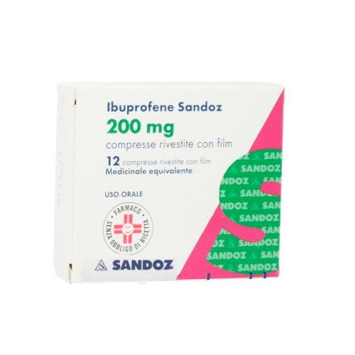 Ibuprofene Sandoz 200 mg Antidolorifico 12 Compresse Rivestite