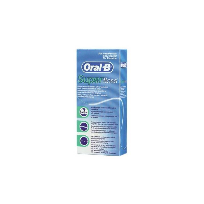 Oral-B Superfloss Filo Interdentale Ponti Apparecchi Ortodontici 50 Fili Pre-Misurati
